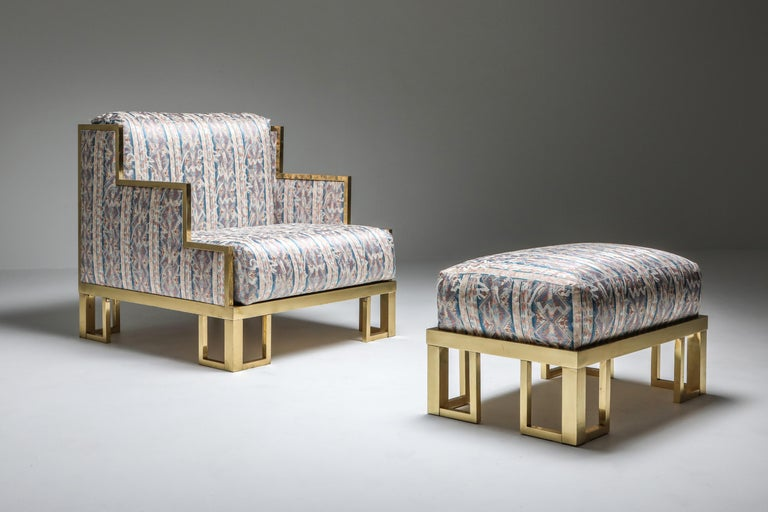 Lounge chair and ottoman, Italy, 1970s.  Original silk upholstery In case your prefer another color or type of fabric.