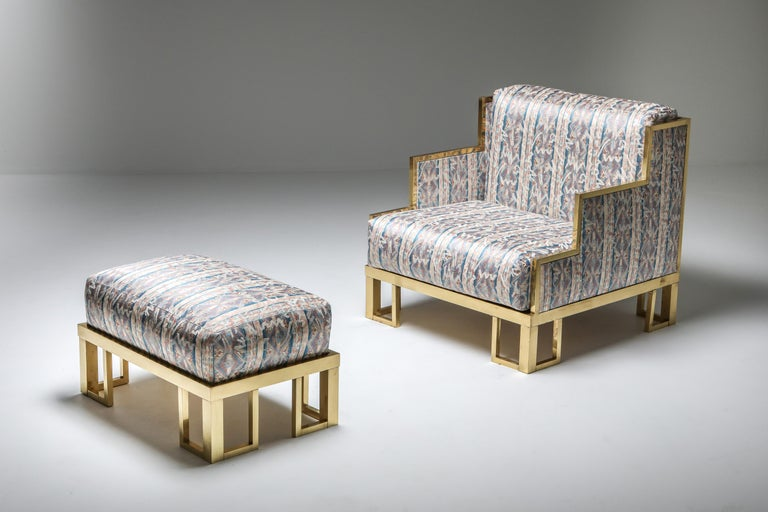French Brass Lounge Chair and Ottoman For Sale