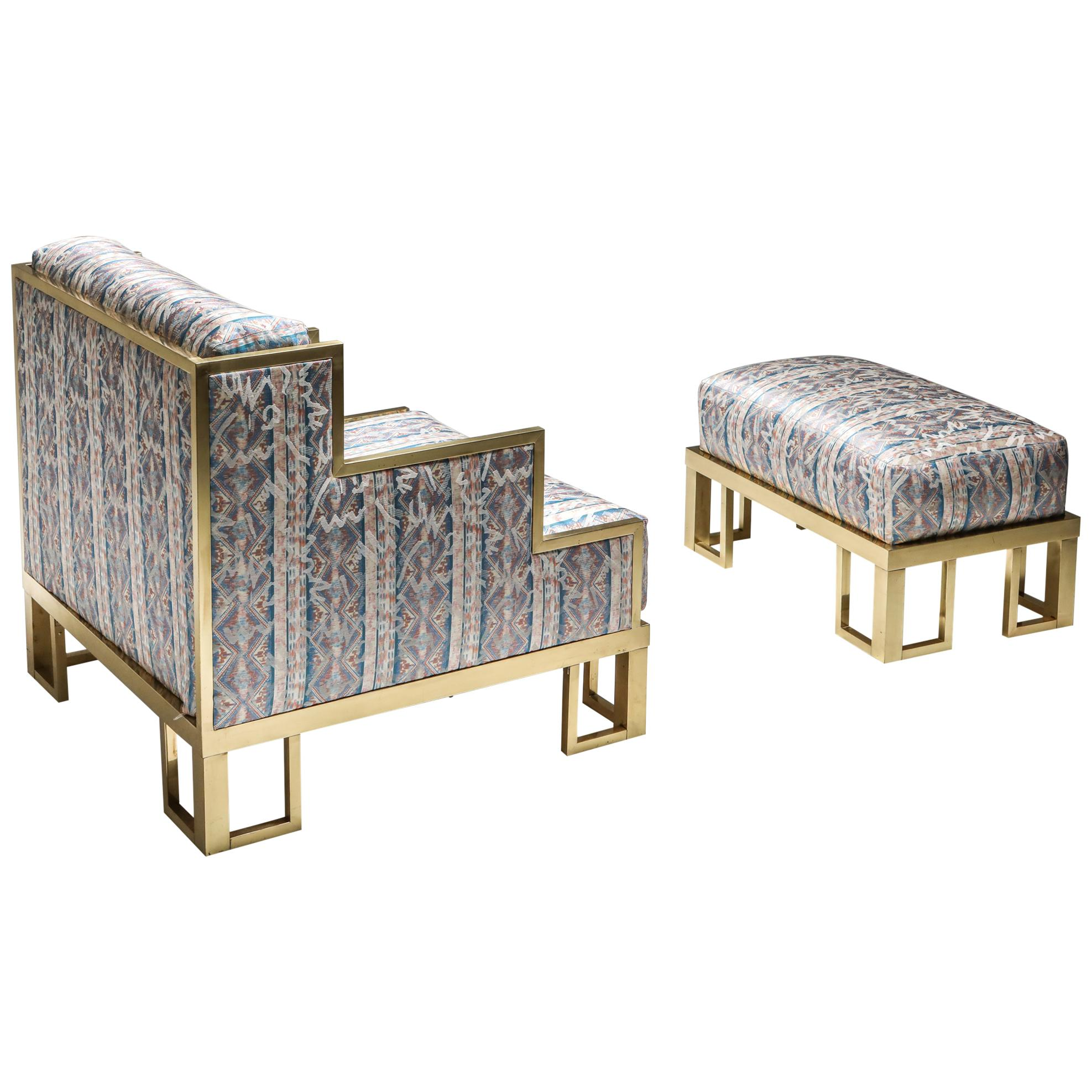 Brass Lounge Chair and Ottoman