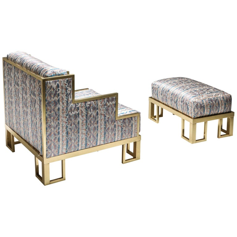 Brass Lounge Chair and Ottoman For Sale