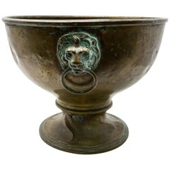 Brass Garden Planter with Lions Heads