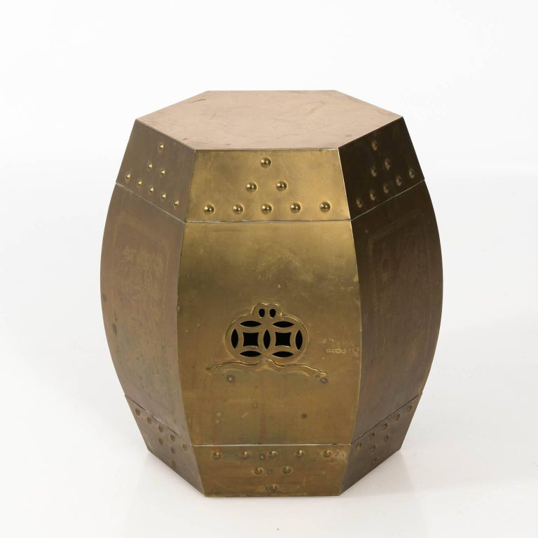 Polished Brass Garden Seat For Sale