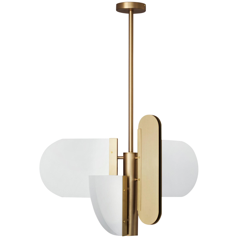 "Brass ""Geometric Task"" Pendant Lamp, Square in Circle"