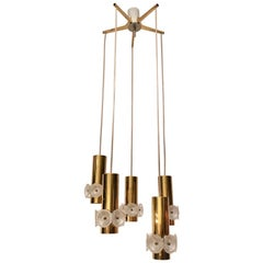 Brass & Glass 5 Arms Pendant Lamp by Carl Fagerlund for Orrefors, Sweden, 1960s