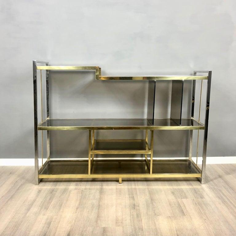 Mid-Century Modern Brass, Glass and Chrome Console Sideboard Serantoni & Arcangeli, 1970s, Italy