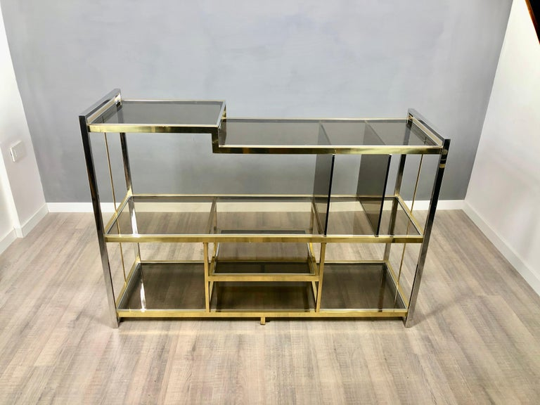 Italian Brass, Glass and Chrome Console Sideboard Serantoni & Arcangeli, 1970s, Italy
