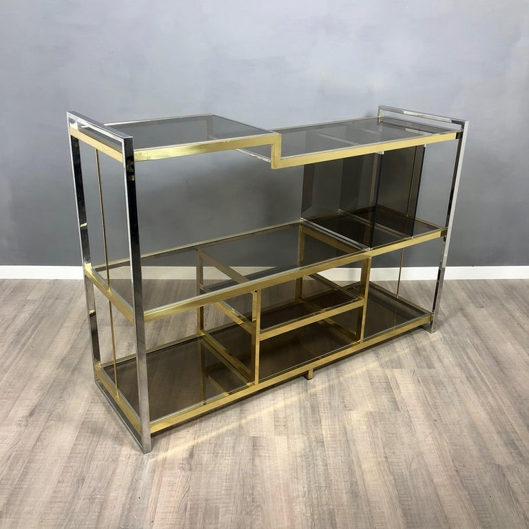 Brass, Glass and Chrome Console Sideboard Serantoni & Arcangeli, 1970s, Italy In Good Condition In Rome, IT