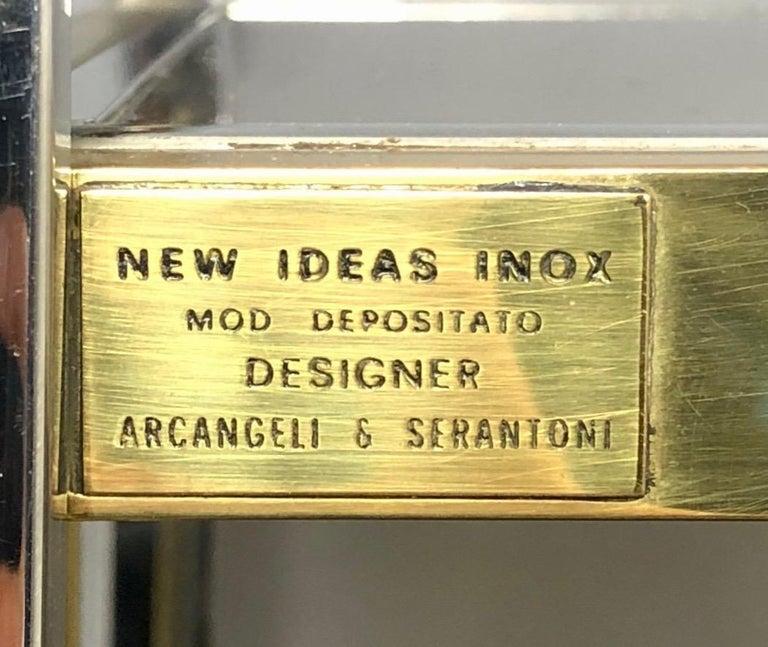 Late 20th Century Brass, Glass and Chrome Console Sideboard Serantoni & Arcangeli, 1970s, Italy