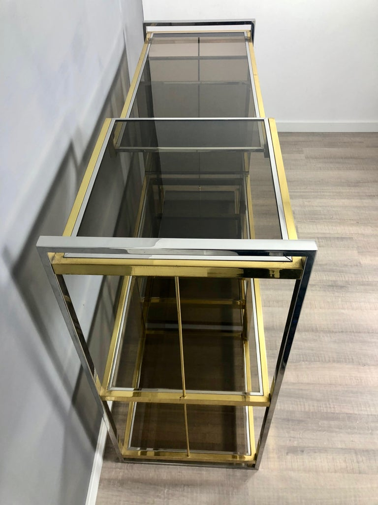 Brass, Glass and Chrome Console Sideboard Serantoni & Arcangeli, 1970s, Italy 1