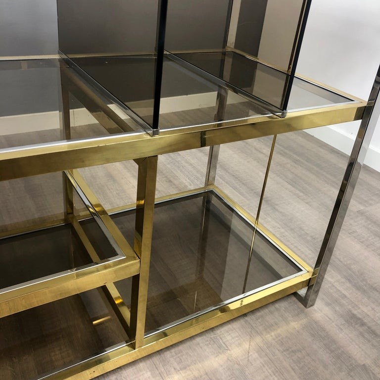 Brass, Glass and Chrome Console Sideboard Serantoni & Arcangeli, 1970s, Italy 2