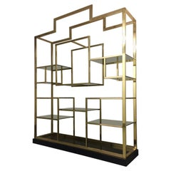 2 Brass, Glass & Black Lacquered Shelf by Kim Moltzer, France, ca. 1970s