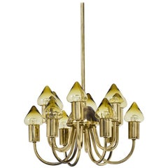 Brass & Glass Ceiling Lamp Model T 789/12 by Hans-Agne Jakobsson
