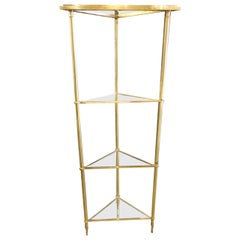 Brass and Glass French Corner Shelf Unit