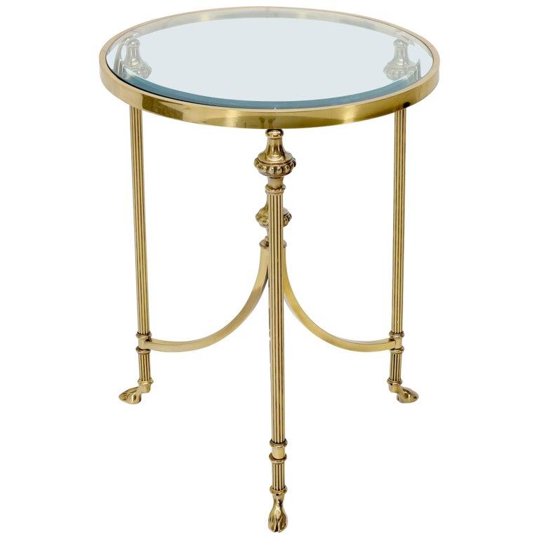 Brass And Glass Hoof Feet Gueridon Side Lamp Table