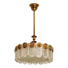 Brass & Glass Light Fixture, Chandelier by Kaiser Leuchten, 1960s