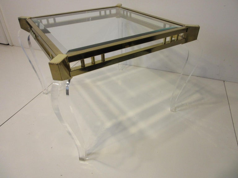Modern Brass / Glass Lucite Side Table in the Style of Charles Hollis Jones For Sale