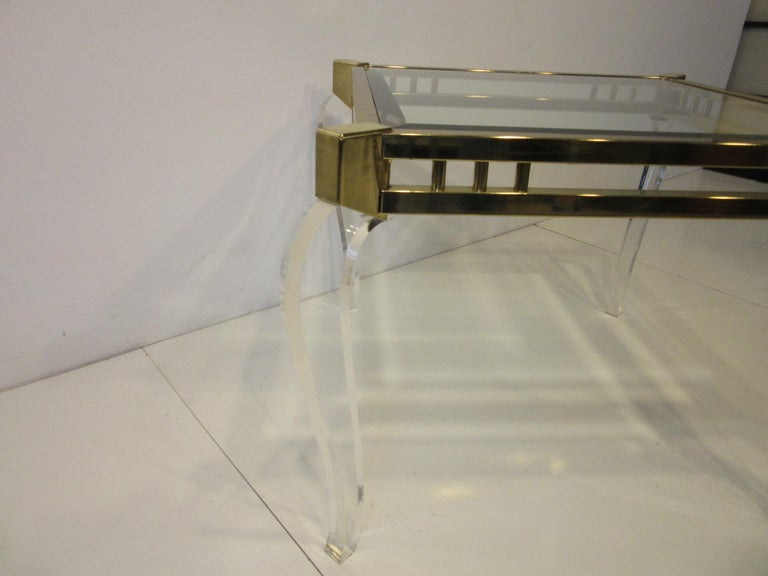 North American Brass / Glass Lucite Side Table in the Style of Charles Hollis Jones For Sale