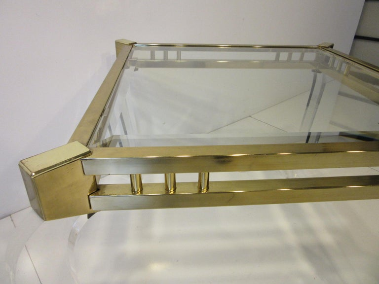 Brass / Glass Lucite Side Table in the Style of Charles Hollis Jones In Good Condition For Sale In Cincinnati, OH
