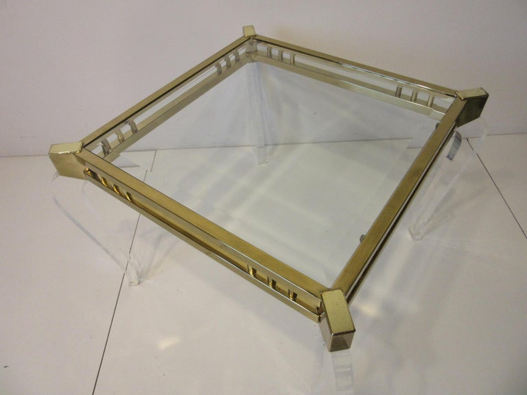 20th Century Brass / Glass Lucite Side Table in the Style of Charles Hollis Jones For Sale