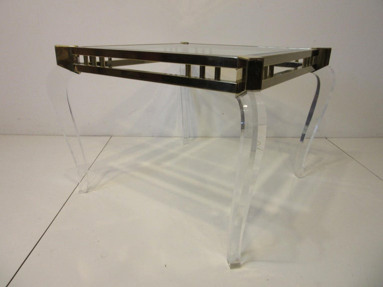 Brass / Glass Lucite Side Table in the Style of Charles Hollis Jones For Sale 2