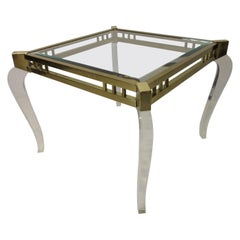 Brass / Glass Lucite Side Table in the Style of Charles Hollis Jones