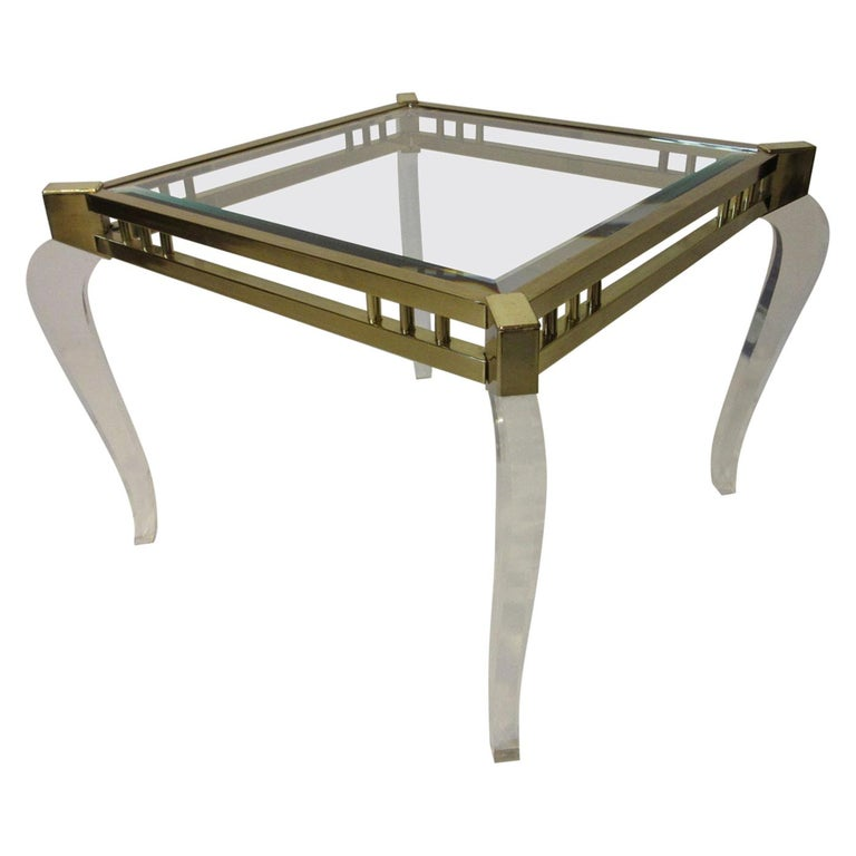 Brass / Glass Lucite Side Table in the Style of Charles Hollis Jones For Sale