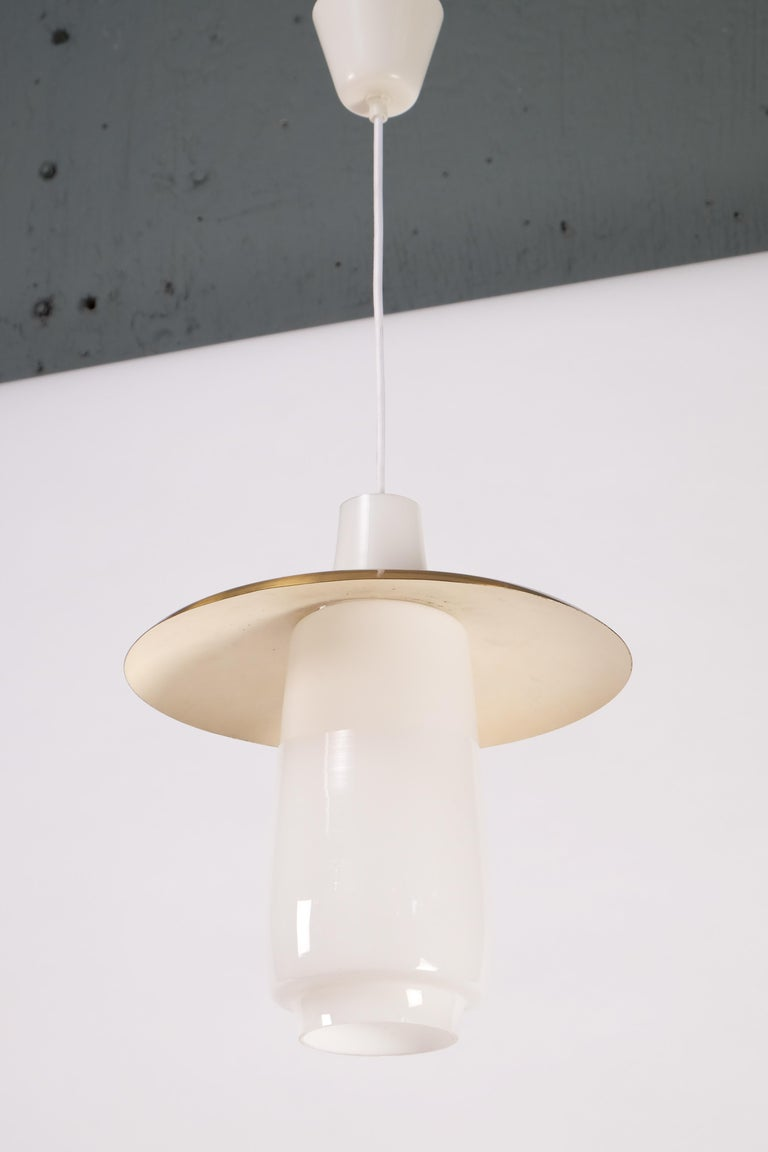Brass and Glass Pendant, Sweden, 1960s In Good Condition For Sale In Stockholm, SE