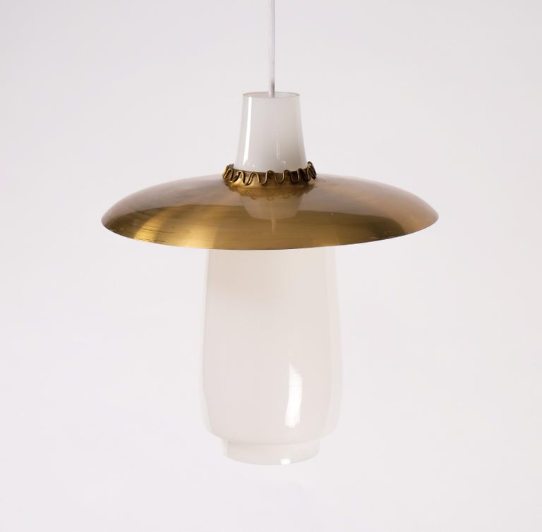 Mid-20th Century Brass and Glass Pendant, Sweden, 1960s For Sale