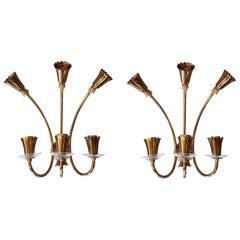Brass & Glass Six-Light Mid-Century Modern Sconces, Stilnovo Style, Italy, 1960s