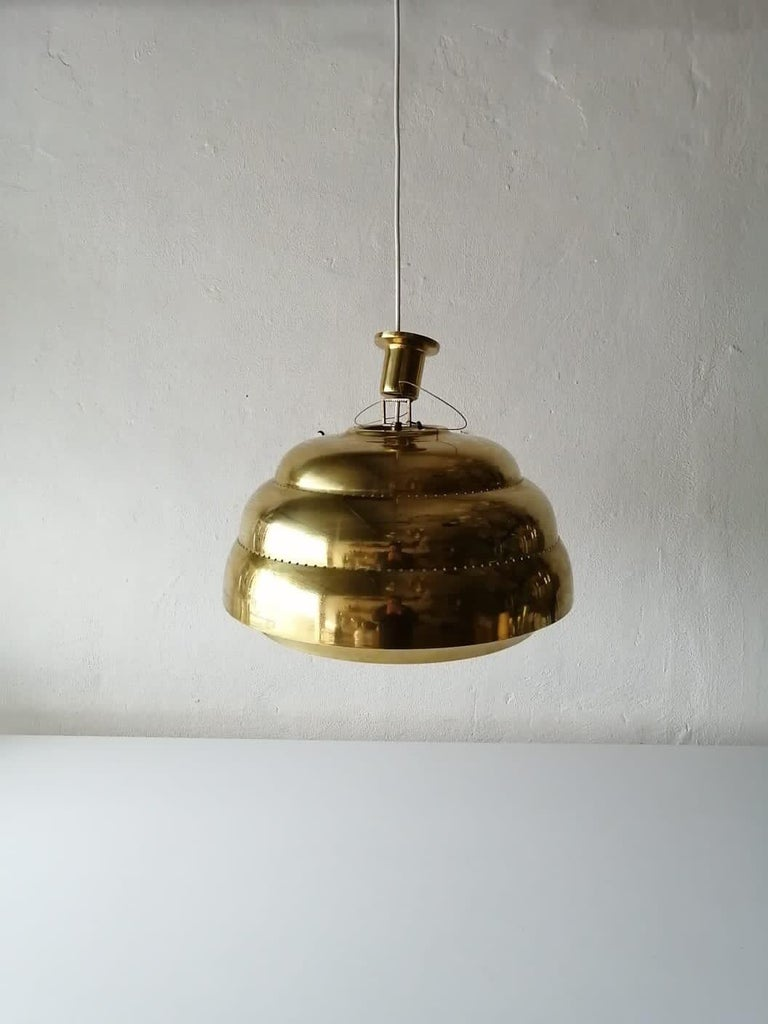 Brass & Glass Suspension Pendant Lamp Style of Paavo Tynell, 1960s Finland For Sale 4