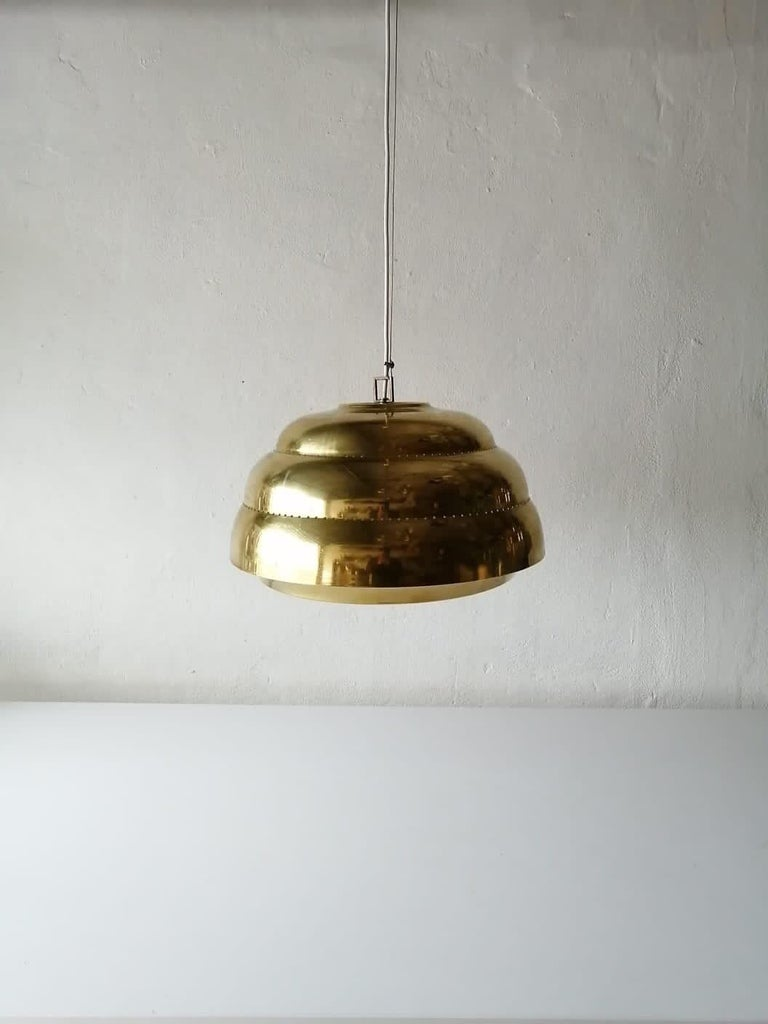 Brass & Glass Suspension Pendant Lamp Style of Paavo Tynell, 1960s Finland For Sale 5