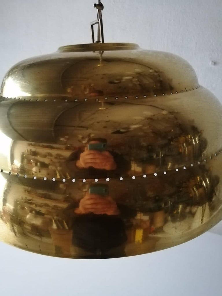 Brass & Glass Suspension Pendant Lamp Style of Paavo Tynell, 1960s Finland For Sale 6