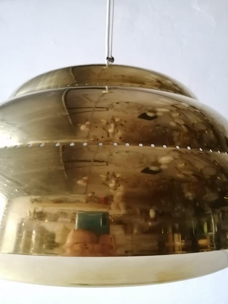 Finnish Brass & Glass Suspension Pendant Lamp Style of Paavo Tynell, 1960s Finland For Sale