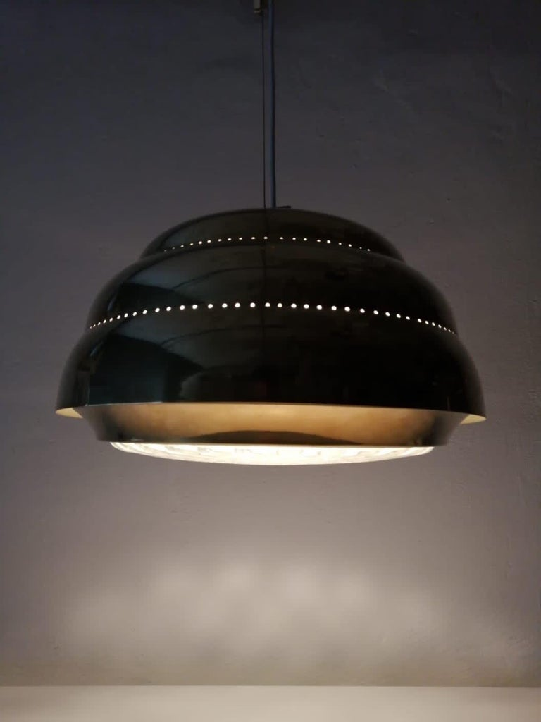 Brass & Glass Suspension Pendant Lamp Style of Paavo Tynell, 1960s Finland In Good Condition For Sale In Hagenbach, DE