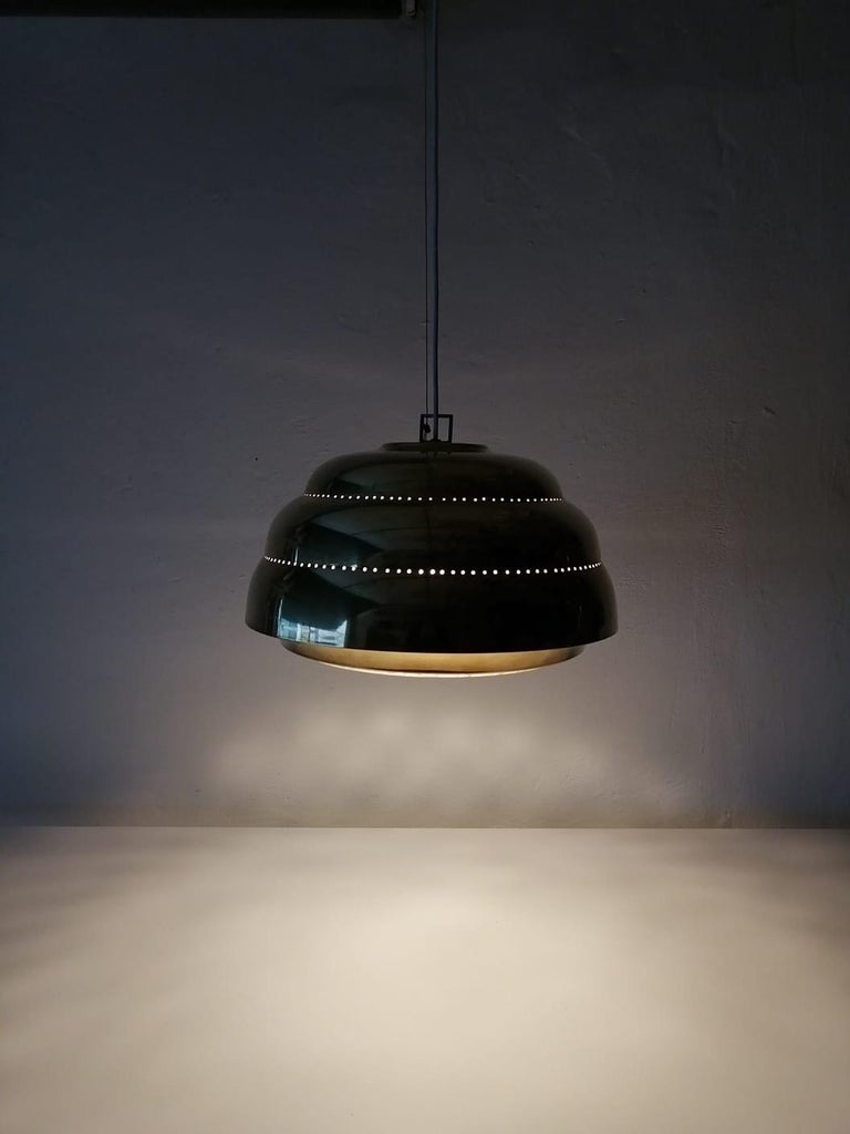 Brass & Glass Suspension Pendant Lamp Style of Paavo Tynell, 1960s Finland For Sale 1