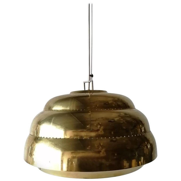 Brass & Glass Suspension Pendant Lamp Style of Paavo Tynell, 1960s Finland For Sale