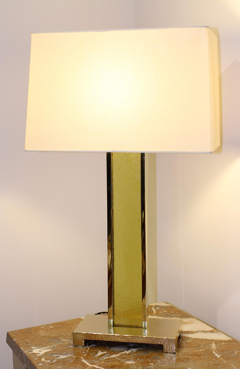 American Brass and Glass Table Lamps, Set of 3 For Sale