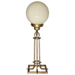 Brass Glass Vintage Table Lamp Style Vienna Secession, 1950s, Austria