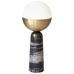 """Brass """"Globe"""" Table Lamp, Square in Circle"""