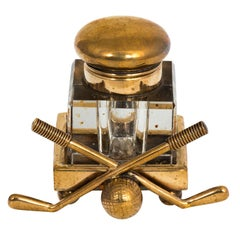 Brass Golf Themed Inkwell, circa 1930