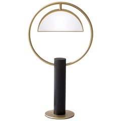 """Brass """"Half in Circle"""" Table Lamp, Square in Circle"""