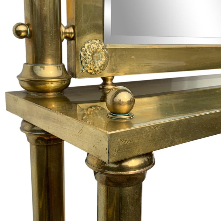 Brass Hall Tree Console Table / Mirror For Sale 3