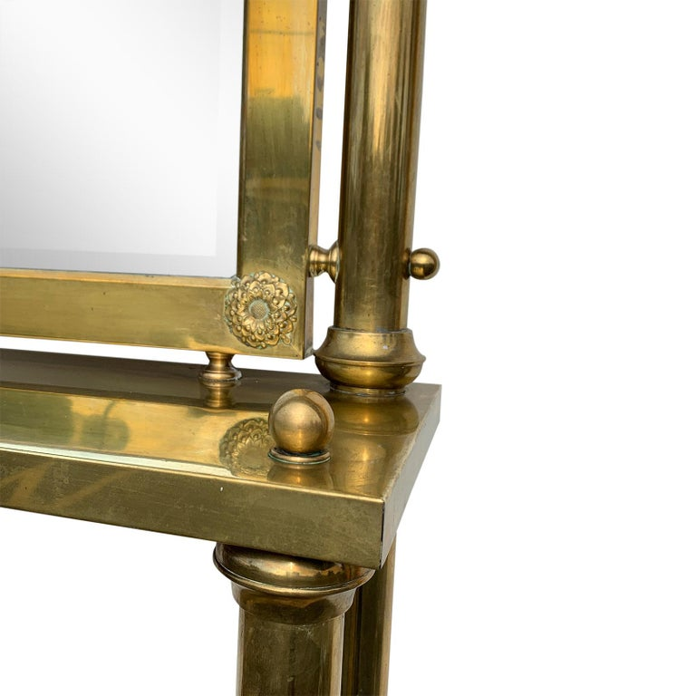 Brass Hall Tree Console Table / Mirror For Sale 4