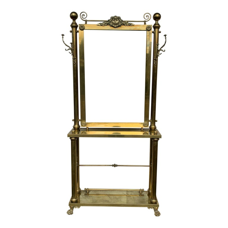 Victorian era brass hall tree / console table / mirror.