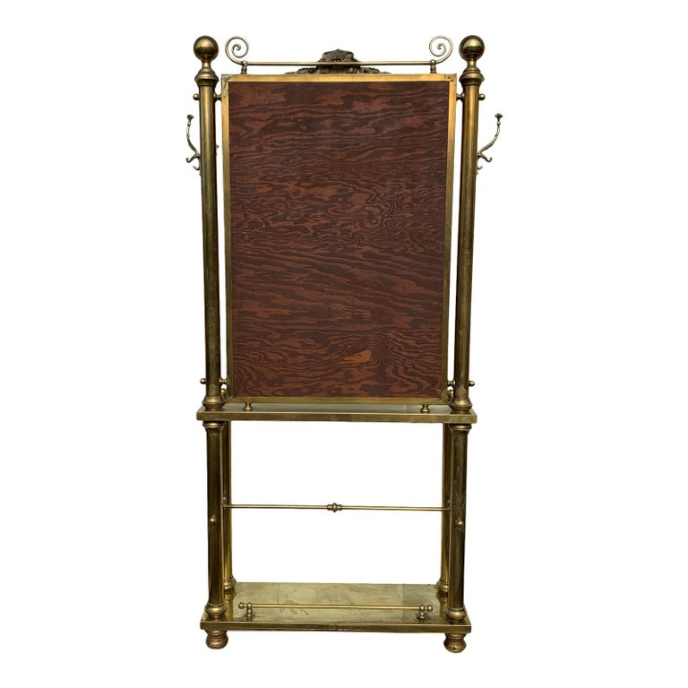 Hollywood Regency Brass Hall Tree Console Table / Mirror For Sale