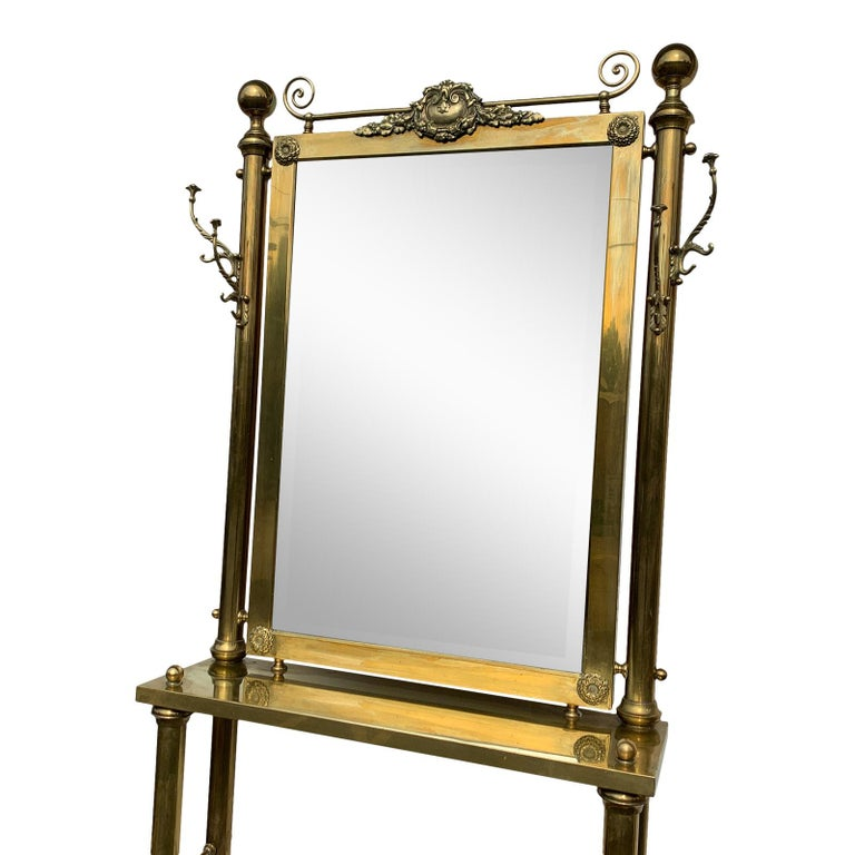 American Brass Hall Tree Console Table / Mirror For Sale