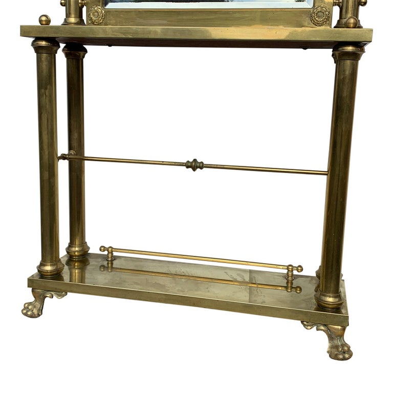 Beveled Brass Hall Tree Console Table / Mirror For Sale