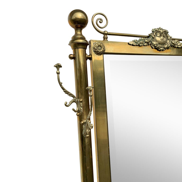 Brass Hall Tree Console Table / Mirror In Good Condition For Sale In North Hollywood, CA