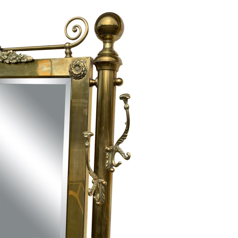 Brass Hall Tree Console Table / Mirror For Sale 1