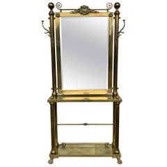 Brass Hall Tree Console Table / Mirror